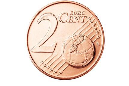 Die Vorderseite der 2-Cent-Münze