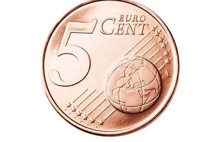 Die Vorderseite der 5-Cent-Münze