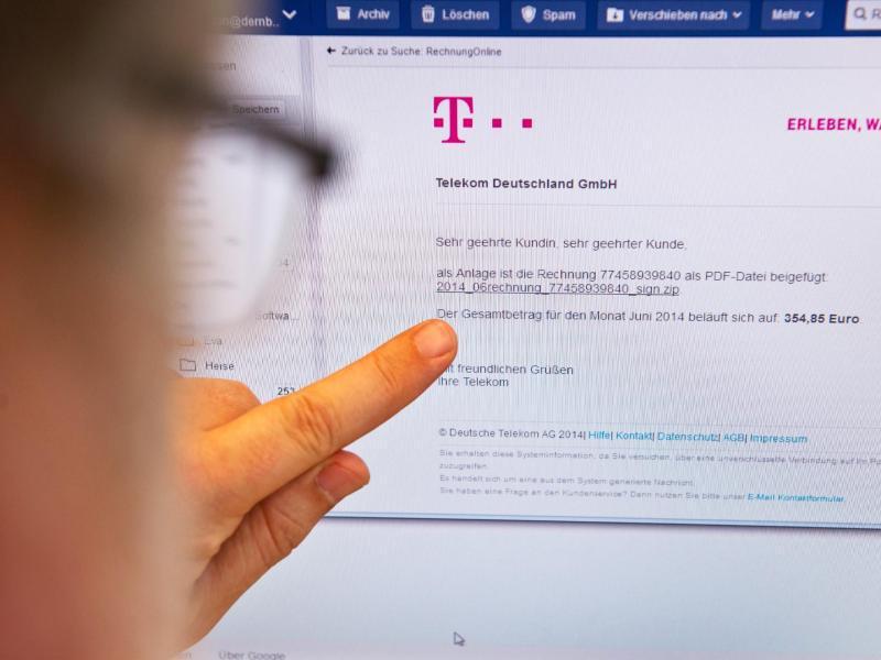 Bild zu Telekom-Phising-Mail