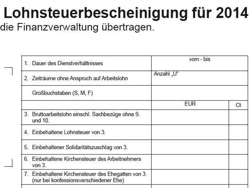 Bild zu Lohnsteuerbescheinigung für 2014
