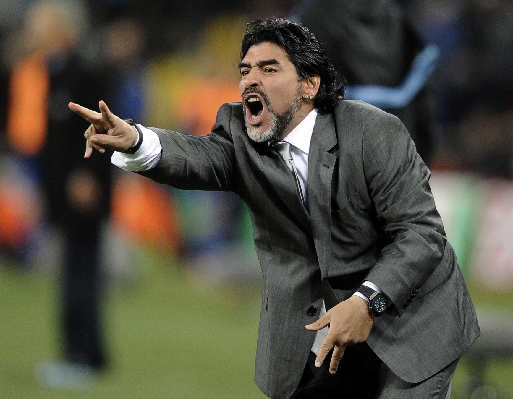 Bild zu Diego Maradona, Argentinien, Nationalmannschaft, WM 2010, Johannesburg, Mexiko, Achtelfinale