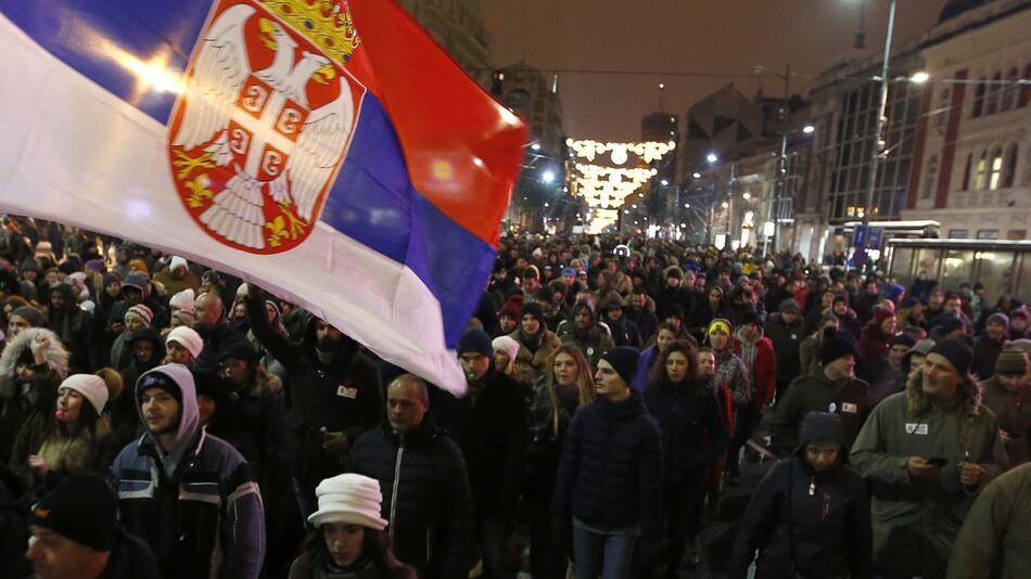 Demonstration in Serbien