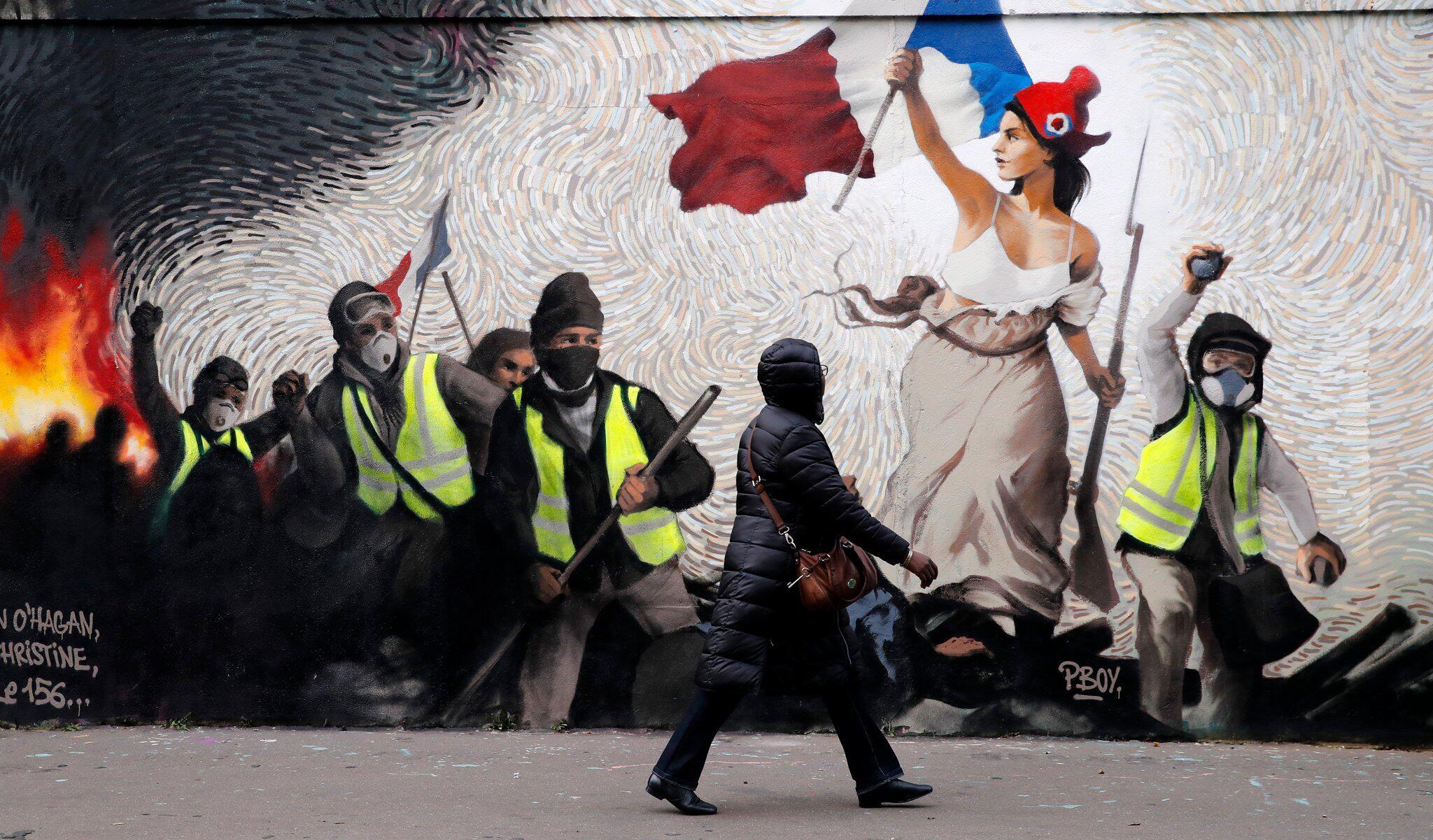 """Bild zu """"Gelbwesten""""-Wandgemälde in Paris"""
