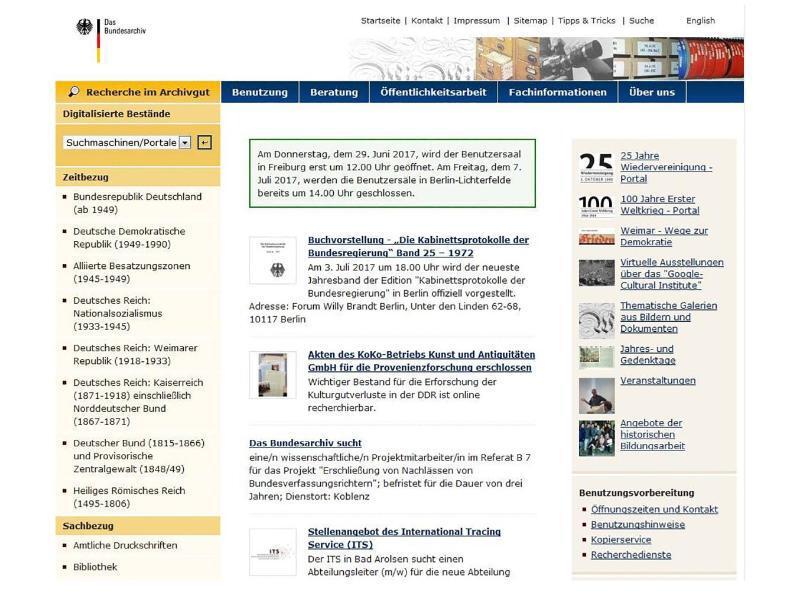 Bild zu Online im Bundesarchiv stöbern