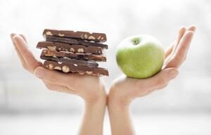 Schokolad versus Apfel