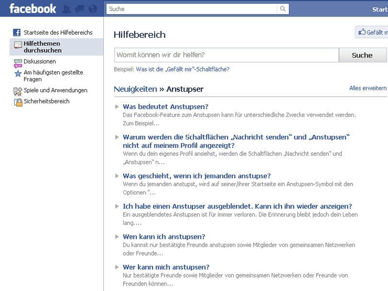 Anstupsen Facebook