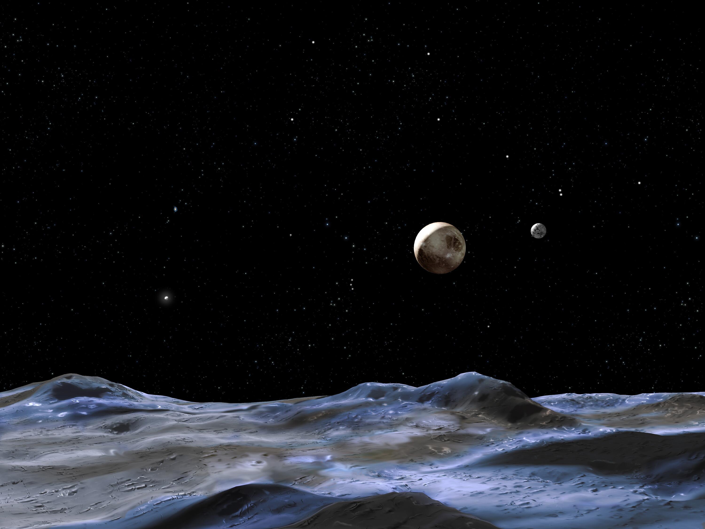 Bild zu Pluto von der Oberfläche einer seiner Monde