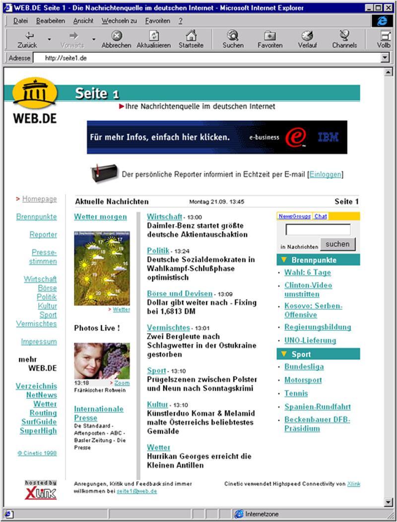Bild zu WEB.DE Homepage