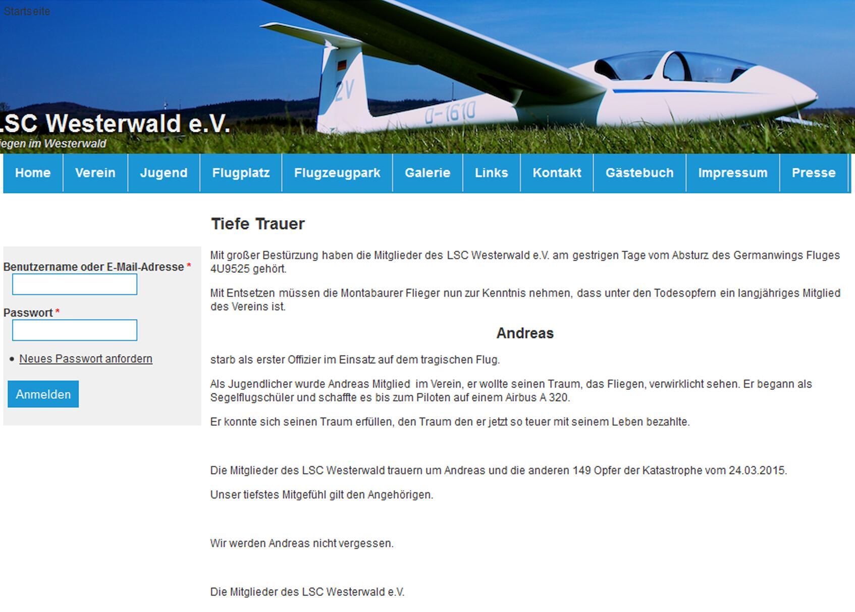 Bild zu Screenshot (Webseite des Luftsportclub Westerwald)