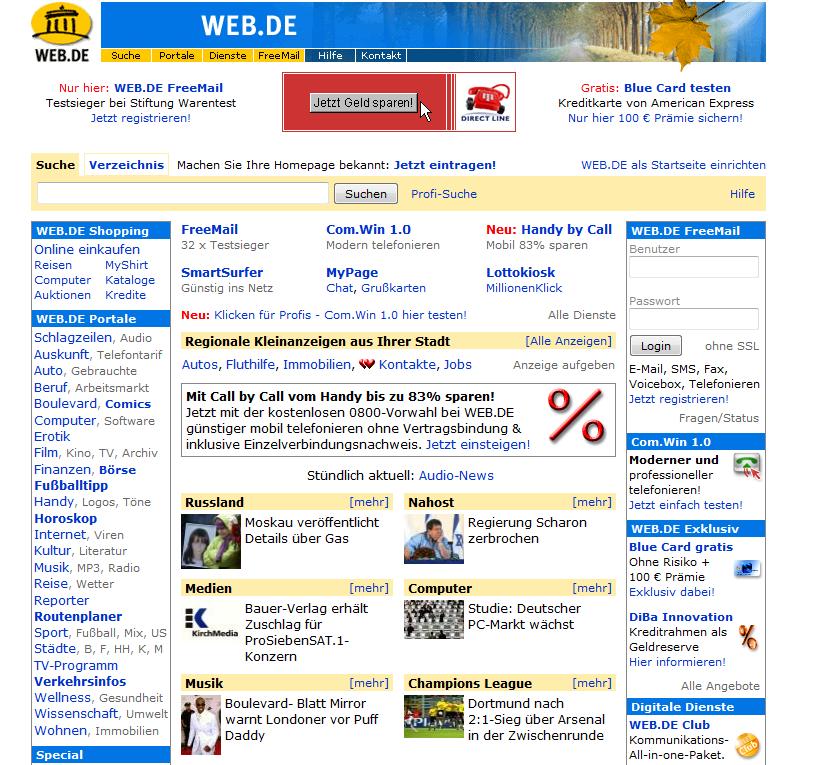 Bild zu Web.de, Archiv