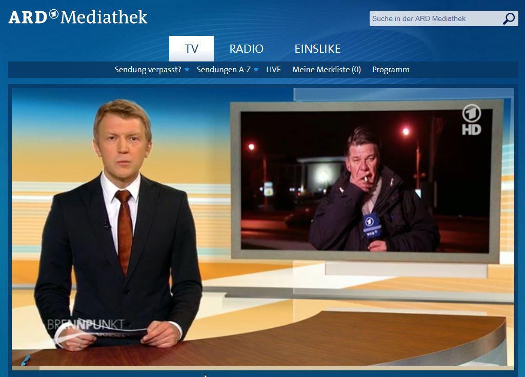Bild zu ARD Brennpunkt Udo Lielischkies Zigarette