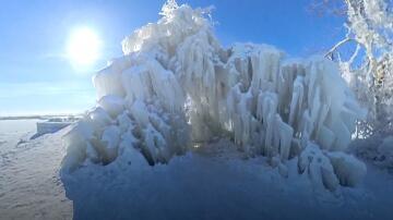 Bild zu Chicago, Eis, Bäume, Frost, Schnee, Kälte, bizarre Gebilde