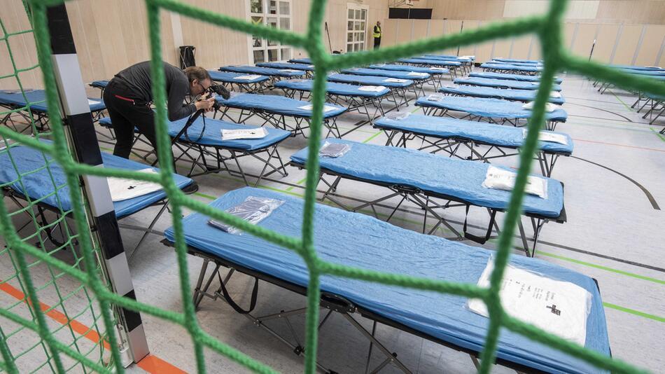Quarantänehalle für Corona-Evakuierte