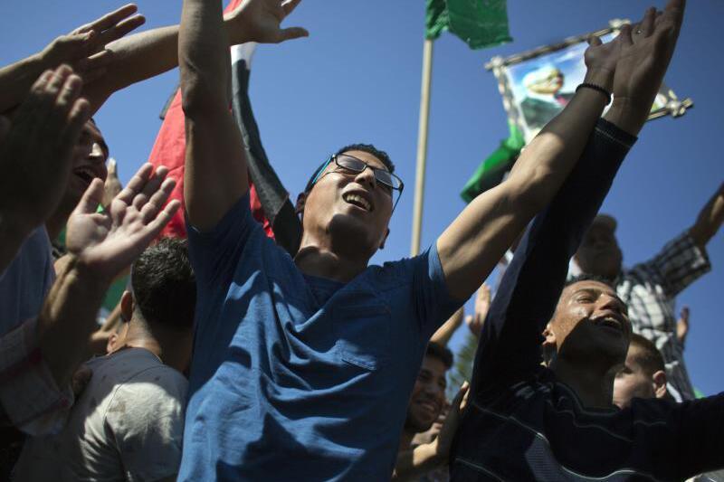 Feiernde Palästinenser