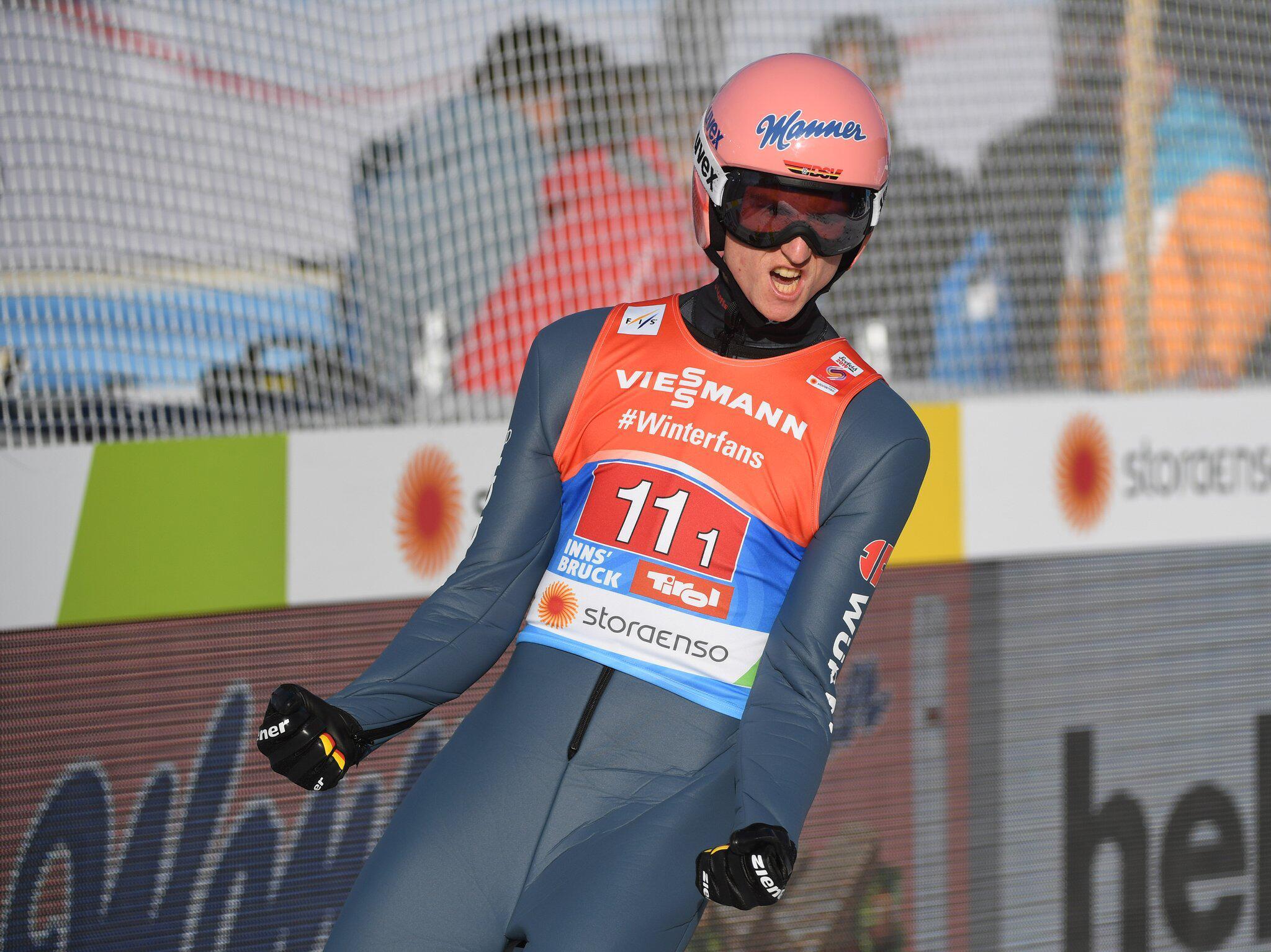 Bild zu Karl Geiger, Nordische Ski-WM, Ski-WM, Seefeld, Skispringen, Teamspringen