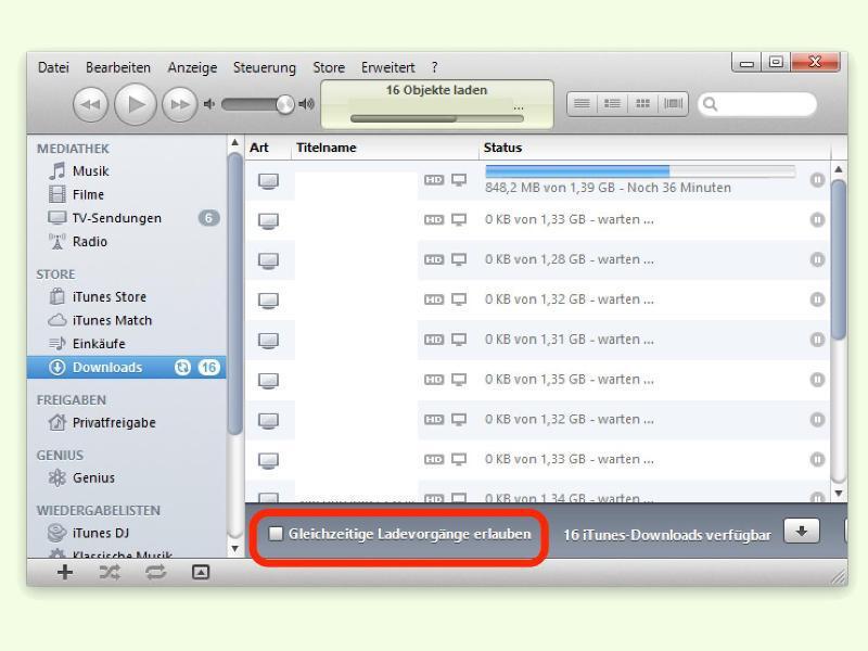 Bild zu Download-Einstellungen bei iTunes
