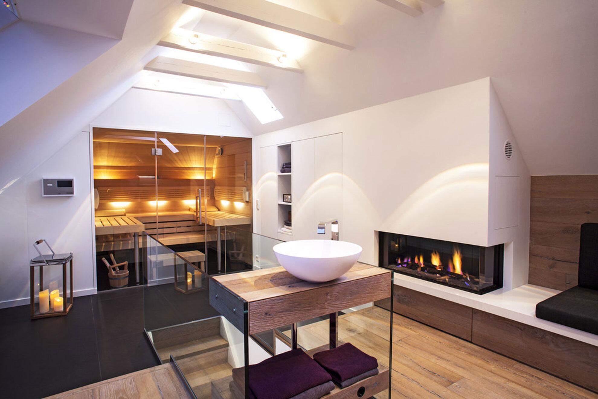 wohnzimmer chalet stil:Chalet Stil im Badezimmer: Aufgrund des stimmigen Designs hält man