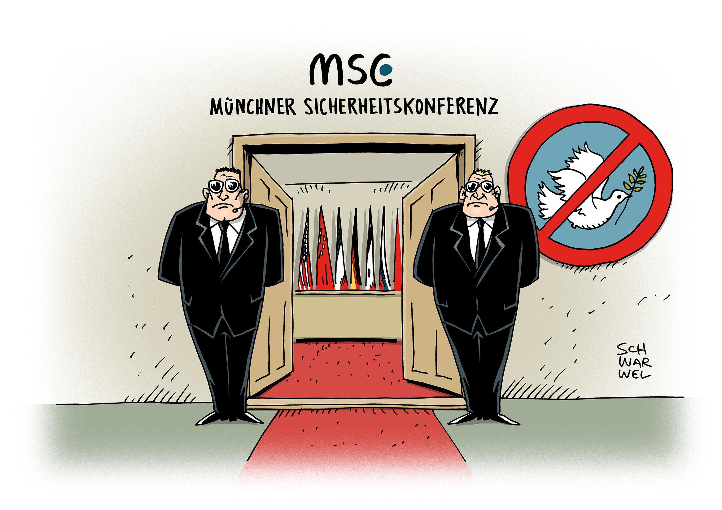 Bild zu Karikatur Schwarwel Sicherheitskonferenz