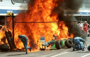 Jos Verstappen, Benetton-Ford, Hockenheimring, 1994, Formel 1, Flammen, Großer Preis von Deutschland