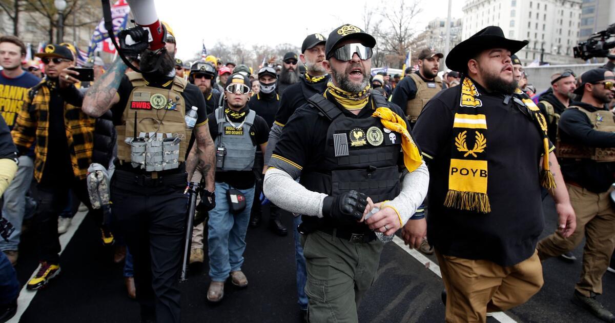 Rechtsradikale Proud Boys marschieren für Trump auf