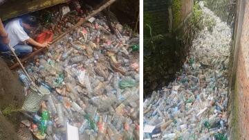 Bild zu Manado, Indonesien, Kanal, Plastikflaschen, Plastikmüll