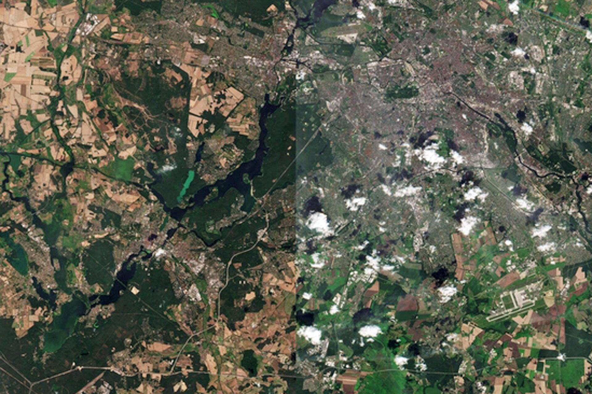 Bild zu Satellitenbilder, Berlin, Hitzewelle, ESA