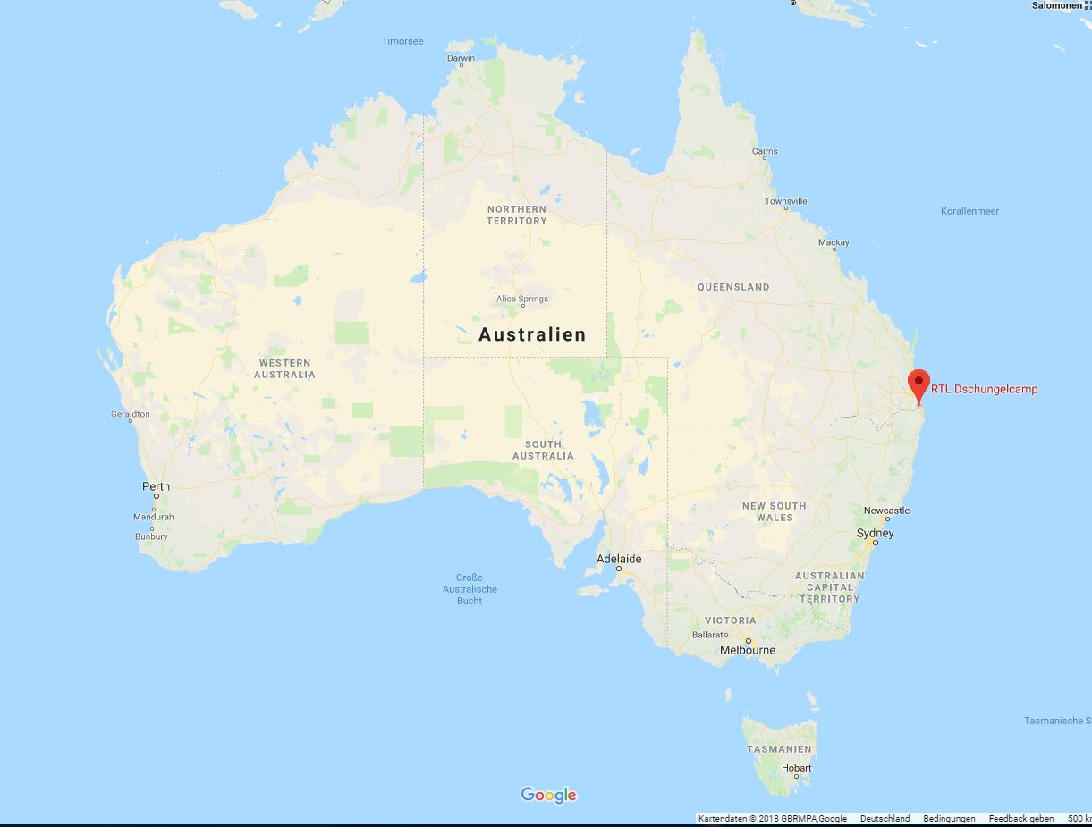 Dschungelcamp Lage Australien