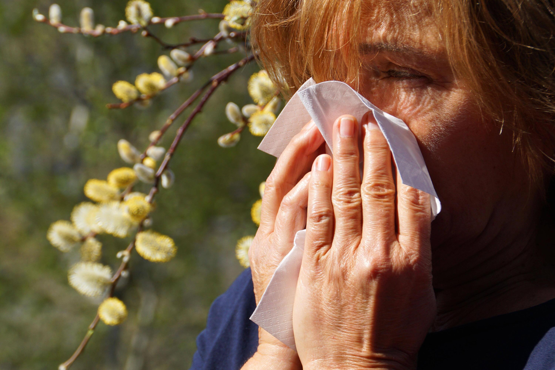 Bild zu Frau mit Pollenallergie