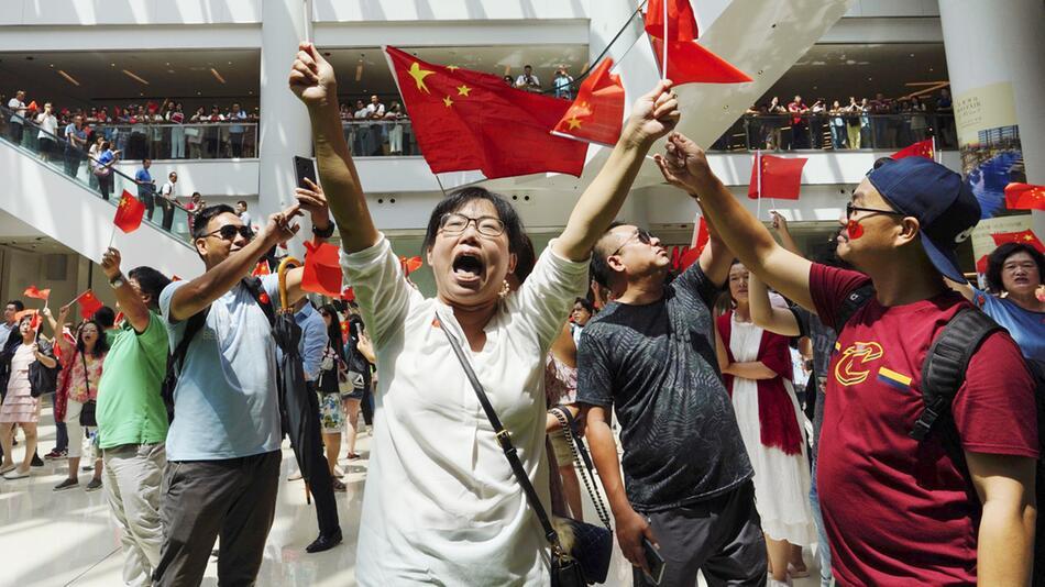 Prochinesische Proteste in Hongkong