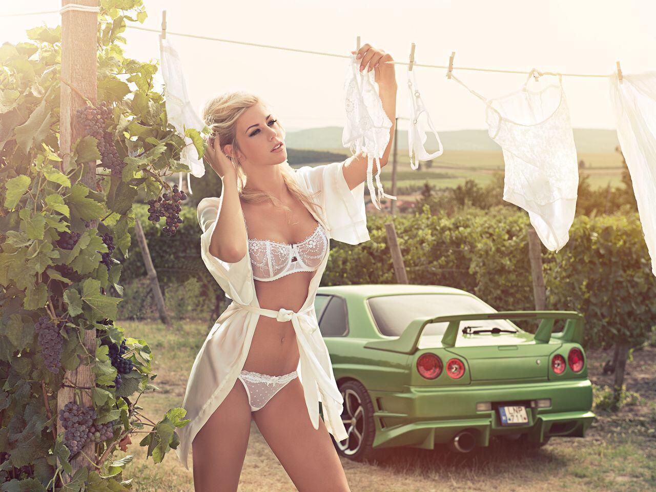 Bild zu Auf der Weinplantage in Ungarn hängt ein Engel in Weiß die Wäsche auf