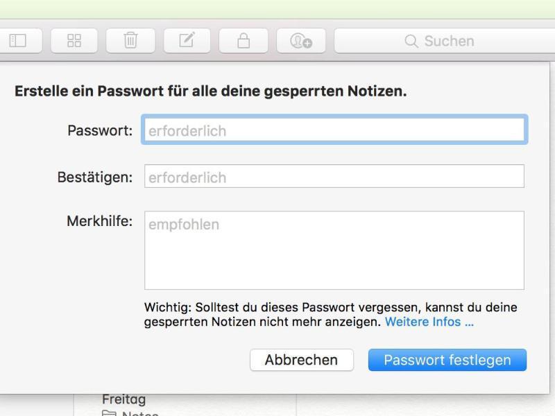 Bild zu Passwort für Notizen eingeben