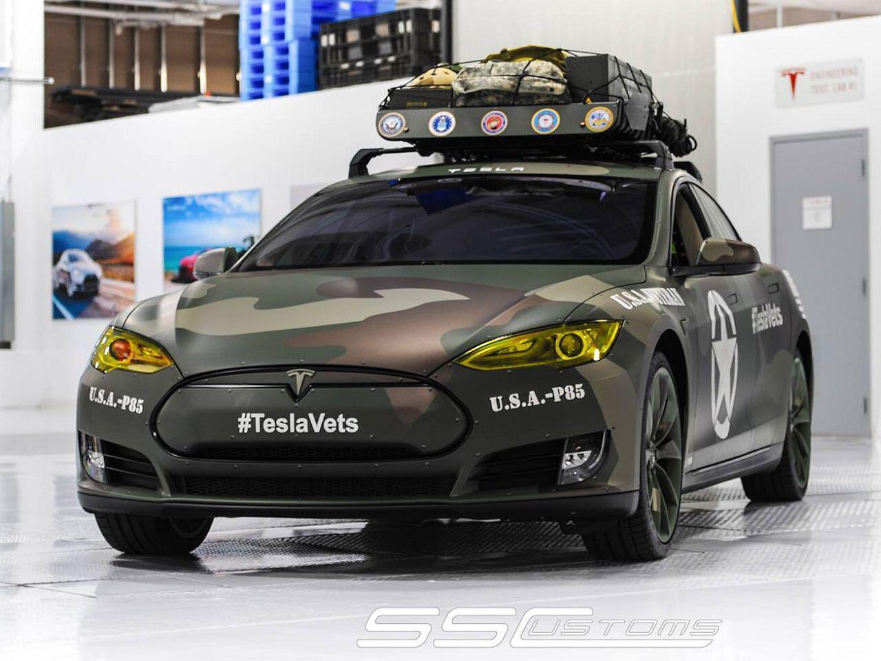 Bild zu Tesla Model S im Army-Look