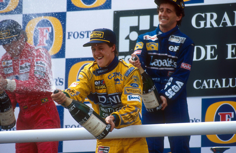 Bild zu Ayrton Senna, Michael Schumacher, Alain Prost, Podium, Champagner, Schampus, Formel 1, Barcelona