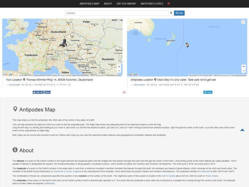 Bild zu Antipodesmap.com
