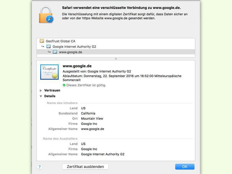Mehr Infos über SSL-Zertifikat | WEB.DE