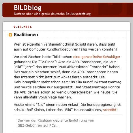 Bild zu Screenshot von Bildblog.de