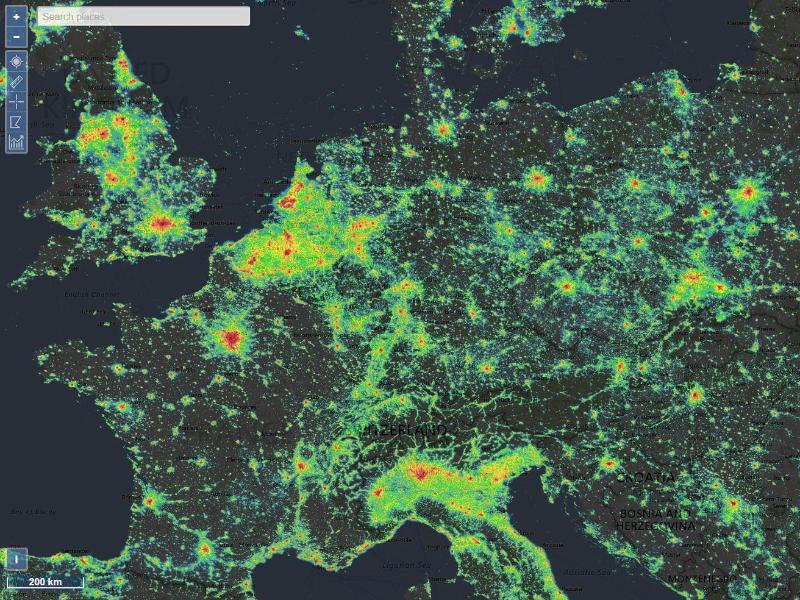 Bild zu lightpollutionmap.info