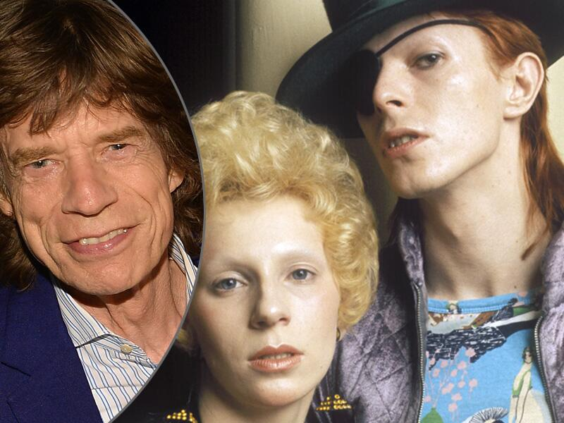 Bild zu Mick Jagger, Angela Barnett und David Bowie