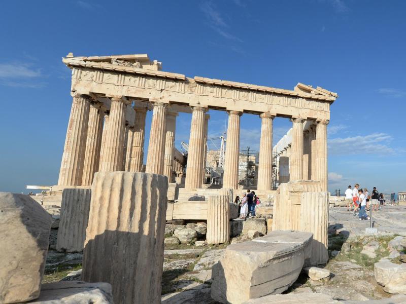 Bild zu Besucher auf der Akropolis